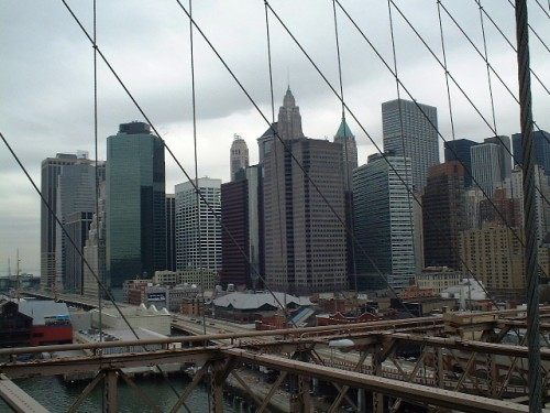 A view of New York from Brooklyn Bridge (March 2002)