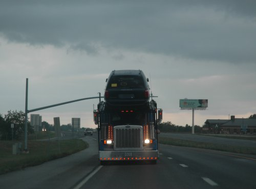 A big truck drives behind us. Illinois (2007)
