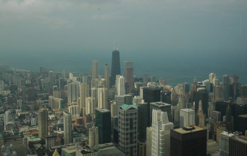 It rained a little, but the views were still great from Sears Tower. Chicago (2007)