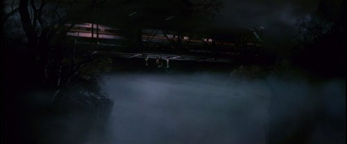 The Lost Boys hang from the bridge as a train passes over… see the similarity? The Lost Boys (1987)