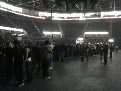 The stadium starts to fill up. All the fans that queued up outside in the cold get let in first. No pain, no gain. Nottingham (2007)
