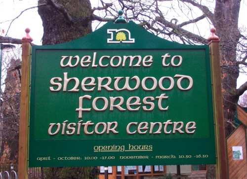 The entrance to the visitors centre with the all important opening times, Sherwood Forest (2006)