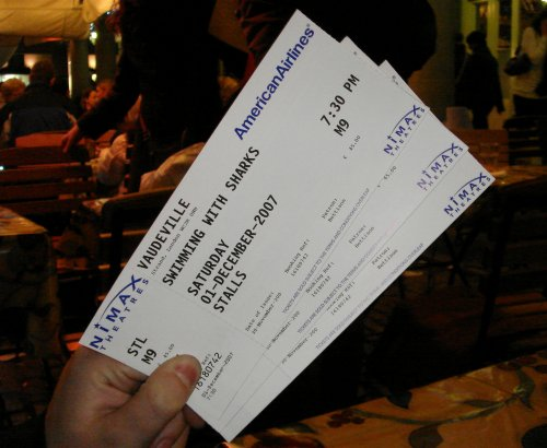 The tickets for my brother, the girlfriend and myself. They were quite expensive! London (2007)