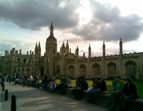 One of the famous Cambridge colleges with lots of tourist loitering outside, Cambridge (2006)