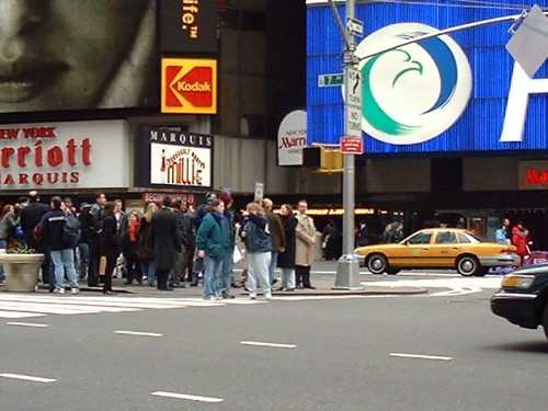 Look closely, and you'll be able to see Ricki Lake interviewing in Times Square, New York (March 2002)