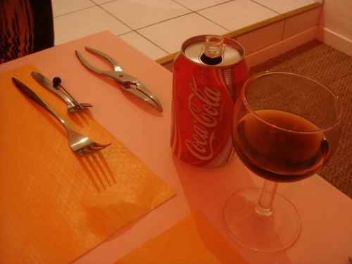 The scary-looking utensils that were required to eat all that seafood. Nice red mood lighting too, France (2006)