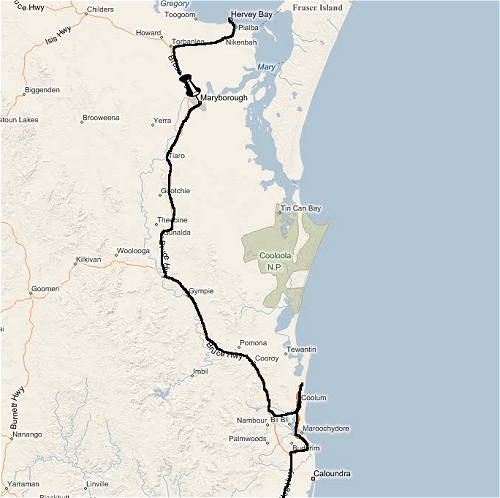 The furthest place we reached to the north was Hervey Bay, we then headed back down south back through Brisbane. Australia (2009)