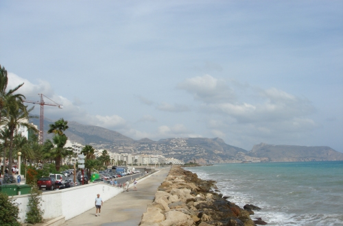 Altea sea front. We travelled down the mountains in the background the night before, they were steep and winding, and not very well lit roads! Spain (2006)