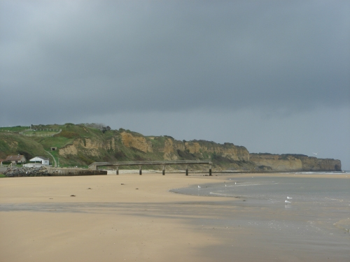 The high cliffs of Omaha beach which made things difficult for the American forces of D-Day, France (2006)