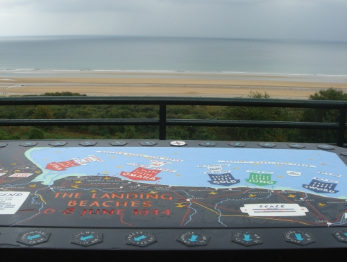 A diagram showing which beaches the Allied Forces at along the Normandy coast. Omaha beach is in the background, France (2006)