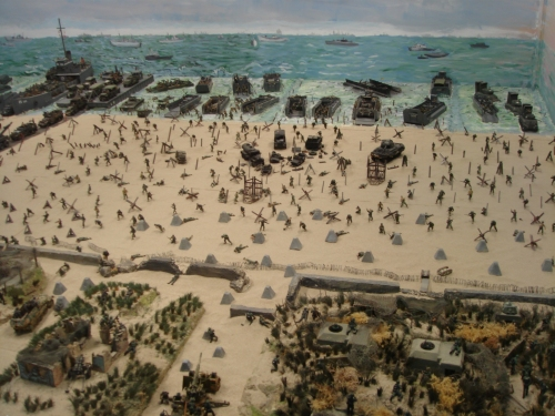 Scale models are used to show the scene on Utah beach on D-Day, France (2006)