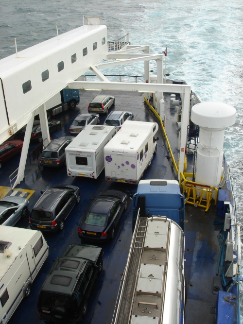 Our little motor home at the front of the ferry on the way back to cultureless Britain, France (2006)