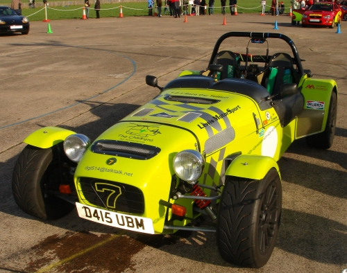 A Caterham 7, the only car on the day that required the driver to wear a helmet, Bruntingthorpe proving ground (2006)