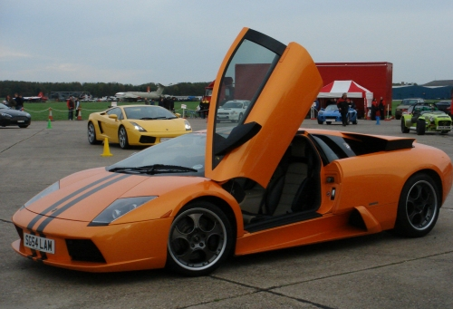 An orange Lamborghini, goes super fast, I managed to over take one in a Porsche 911 on the test track, Bruntingthorpe proving ground (2006)