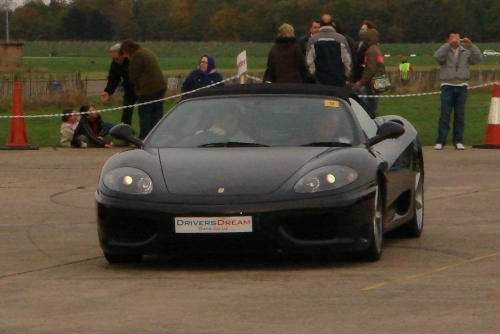 The Ferrari Spyder 350 I drove, it had 6 gears, Bruntingthorpe proving ground (2006)