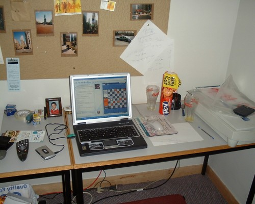 The desk in my room at Taylor Court where I worked hard in to the night sometimes for my Masters Degree, Hull (2005)