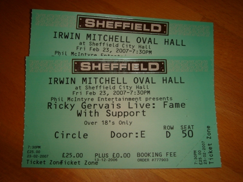 The very difficult to get hold of tickets. We got them for face value too! No eBay rip-offs, Sheffield (2007)