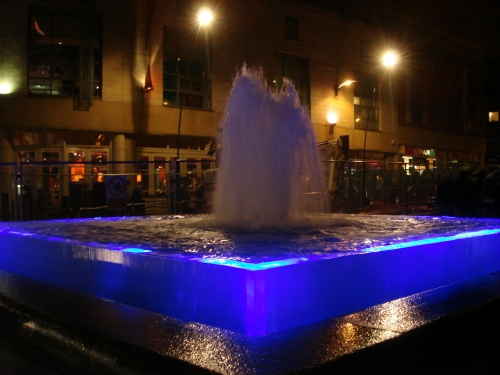 A pretty fountain outside The City Hall, council tax money spent well, Sheffield (2007)