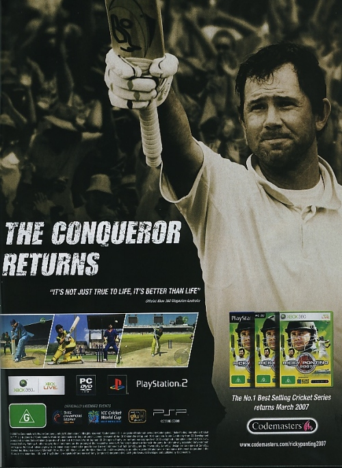 An Official poster for Ricky Ponting International Cricket 2007, UK (2007)