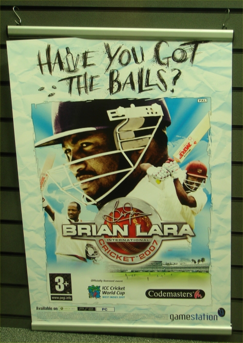 An advertisement for Brian Lara 2007 at Gamestation, Norwich (2007)