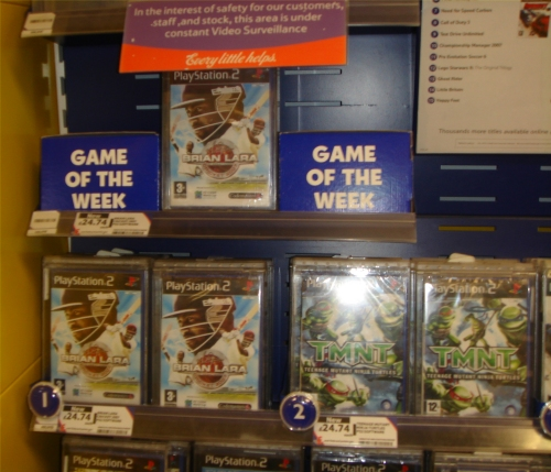 Brian Lara 2007 is at Number 1 in the charts at Tesco and is also game of the week, Norwich (2007)