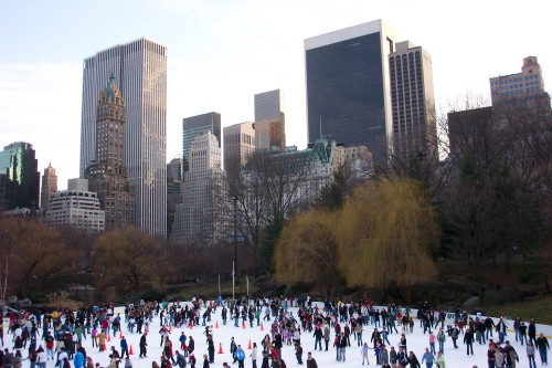 Lots of people ice-skating at Central Park, New York (2006)