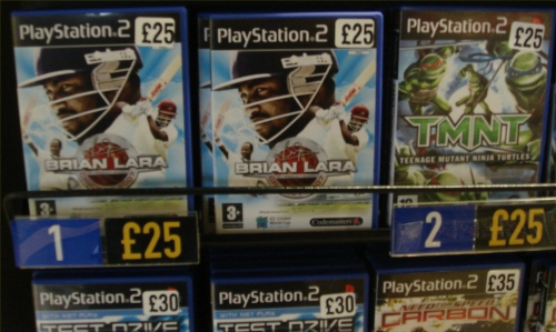 Brian Lara 2007 debuts at Number 1 in the Playstation 2 charts at Virgin Megastore, Norwich (2007)