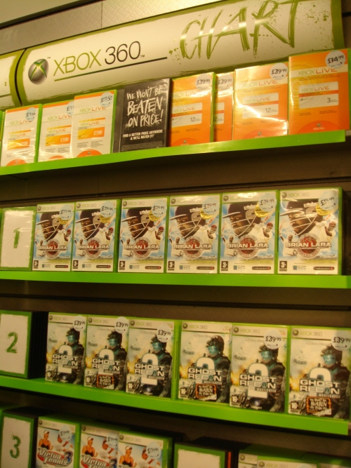 Brian Lara 2007 debuts at Number 1 in the Xbox 360 charts at Gamestation, Norwich (2007)