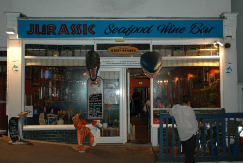 The excellent Jurassic Seafood Wine Bar where we had the best scallops and fish and chips ever! Dorset (2007)