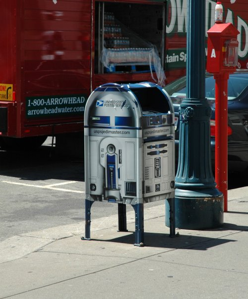 A U.S. post-box disguised as R2D2 from Starwars. San Francisco (2007)