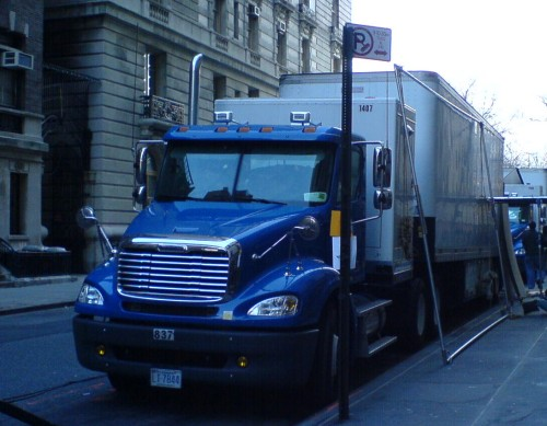 A big old American style truck unloading on the upper-west side of Manhattan, New York (2006)