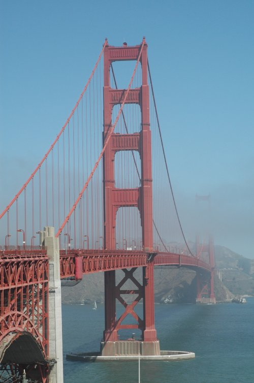 The mist has nearly lifted across The Golden Gate Bridge. San Francisco (2007)