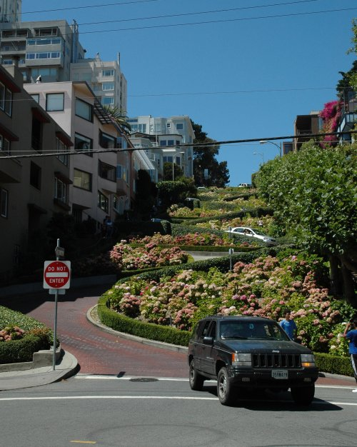 The famous winding road, aka Lombard Street. We drove down it too, it was short, but fun and cost nothing! San Francisco (2007)