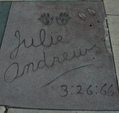 Julie Andrews, star of The classic Sound of Music film, left her hand and shoe prints here in 1966. Los Angeles (2007)