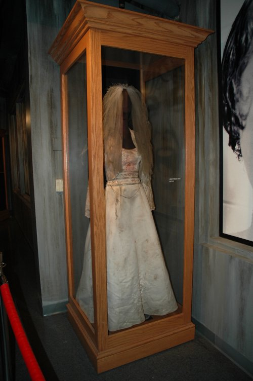 A wedding dress which was worn by a Zombie in the movie