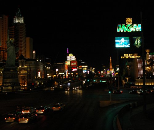 A view down the strip at night. Las Vegas (2007)