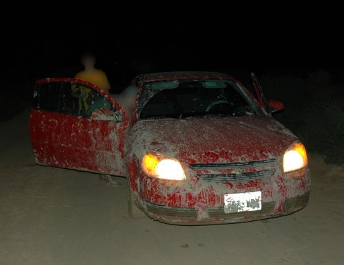 It was dark by the time we got the car towed out of the mud... and because yanking the car out of the mud knackered the wheel balancing, everytime we went between 40-60mph the car shook like hell... all the way to Chicago.  Arizona (2007)