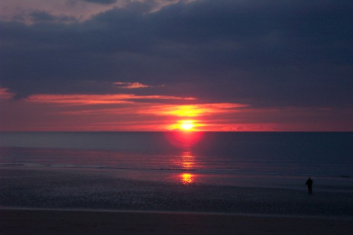 A lonely figure on the beach as the sunsets, Blackpool (2006)