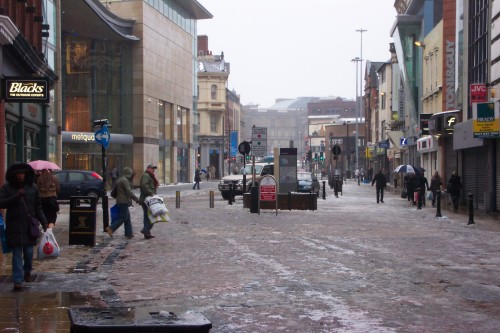 The town centre on a snowy Sunday afternoon, Liverpool (2006)